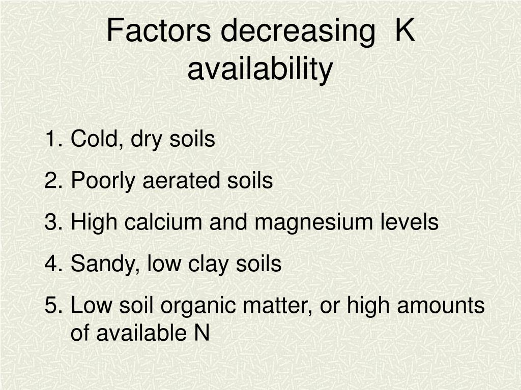 Factors decreasing  K availability