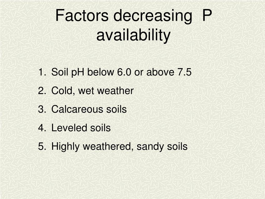 Factors decreasing  P availability