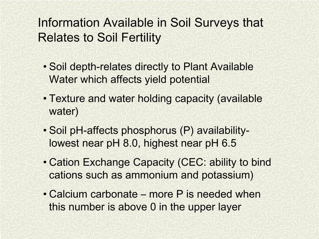 Information Available in Soil Surveys that Relates to Soil Fertility