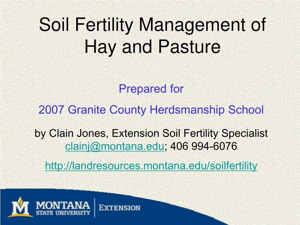 soil fertility management of hay and pasture l.