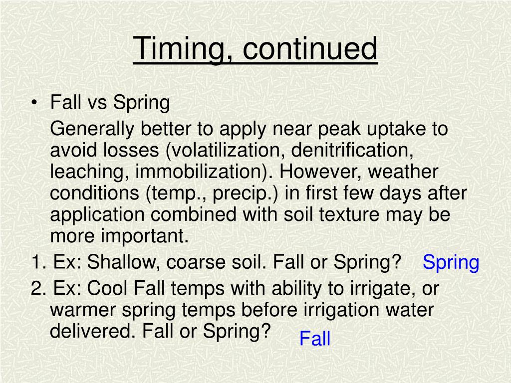 Timing, continued