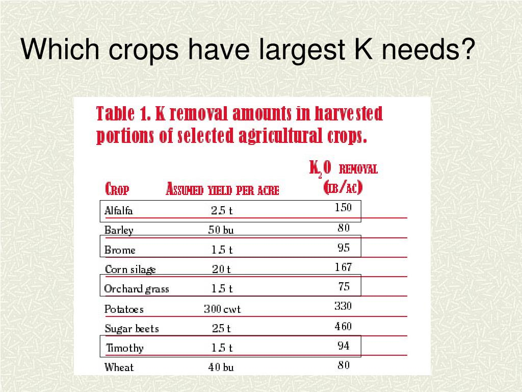 Which crops have largest K needs?