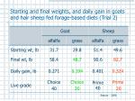 starting and final weights and daily gain in goats and hair sheep fed forage based diets trial 2