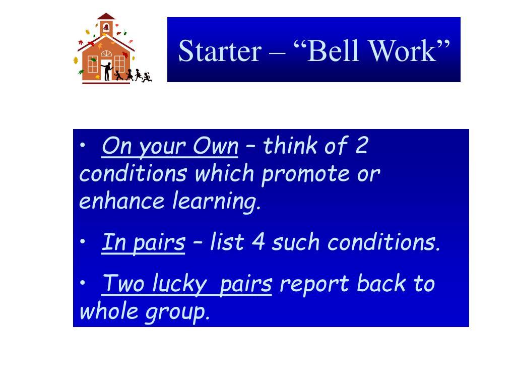 starter bell work l.