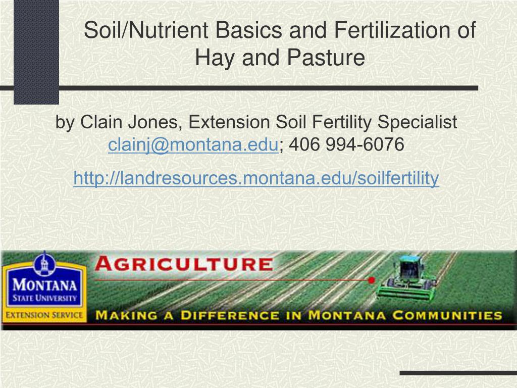 soil nutrient basics and fertilization of hay and pasture l.