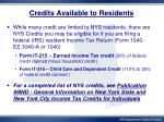 credits available to residents