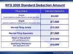 nys 2009 standard deduction amount