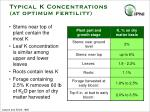 typical k concentrations at optimum fertility