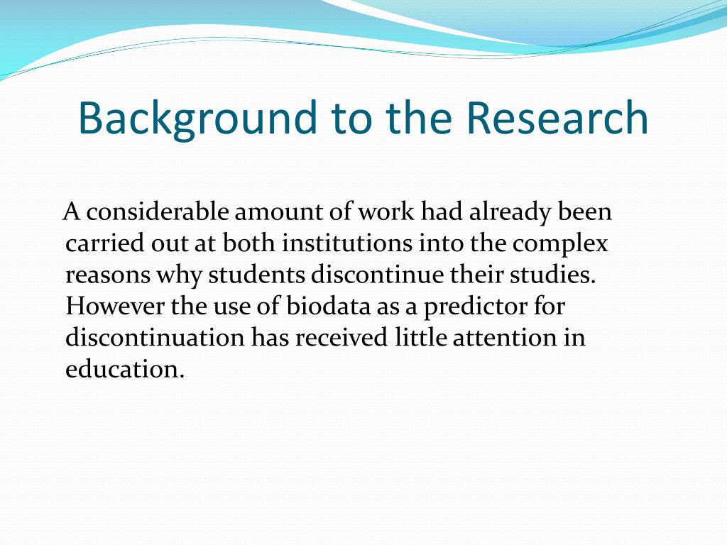 Background to the Research