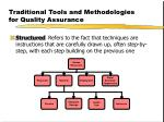 traditional tools and methodologies for quality assurance