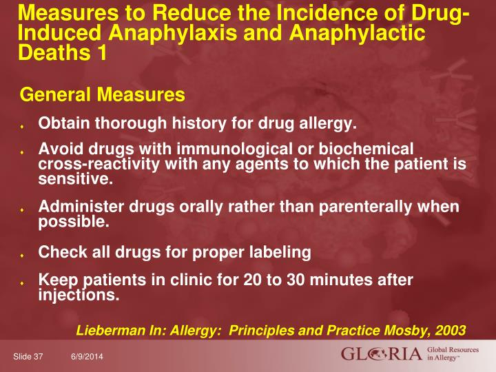 Measures to Reduce the Incidence of Drug- Induced Anaphylaxis and Anaphylactic Deaths 1