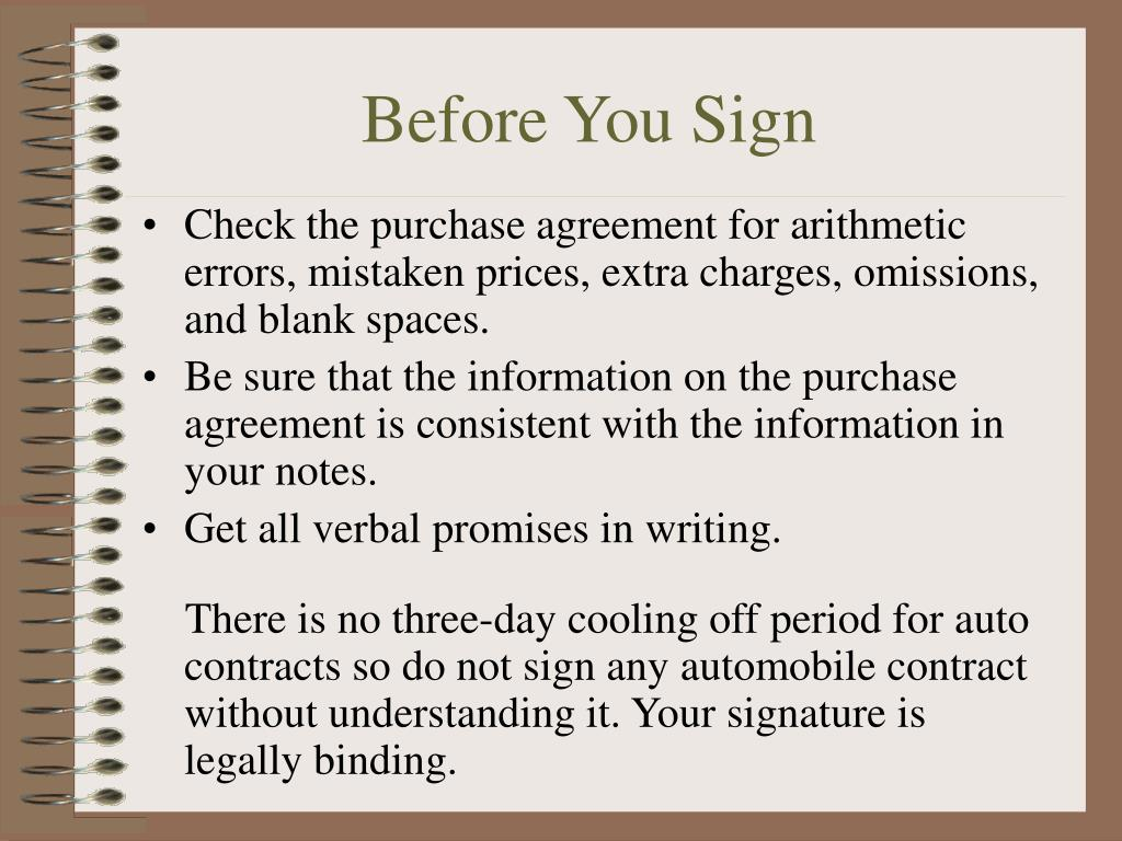 Before You Sign
