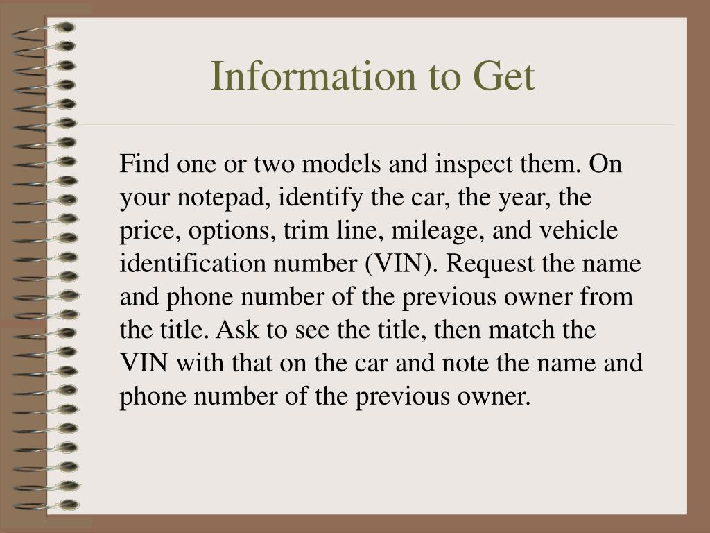 Information to Get