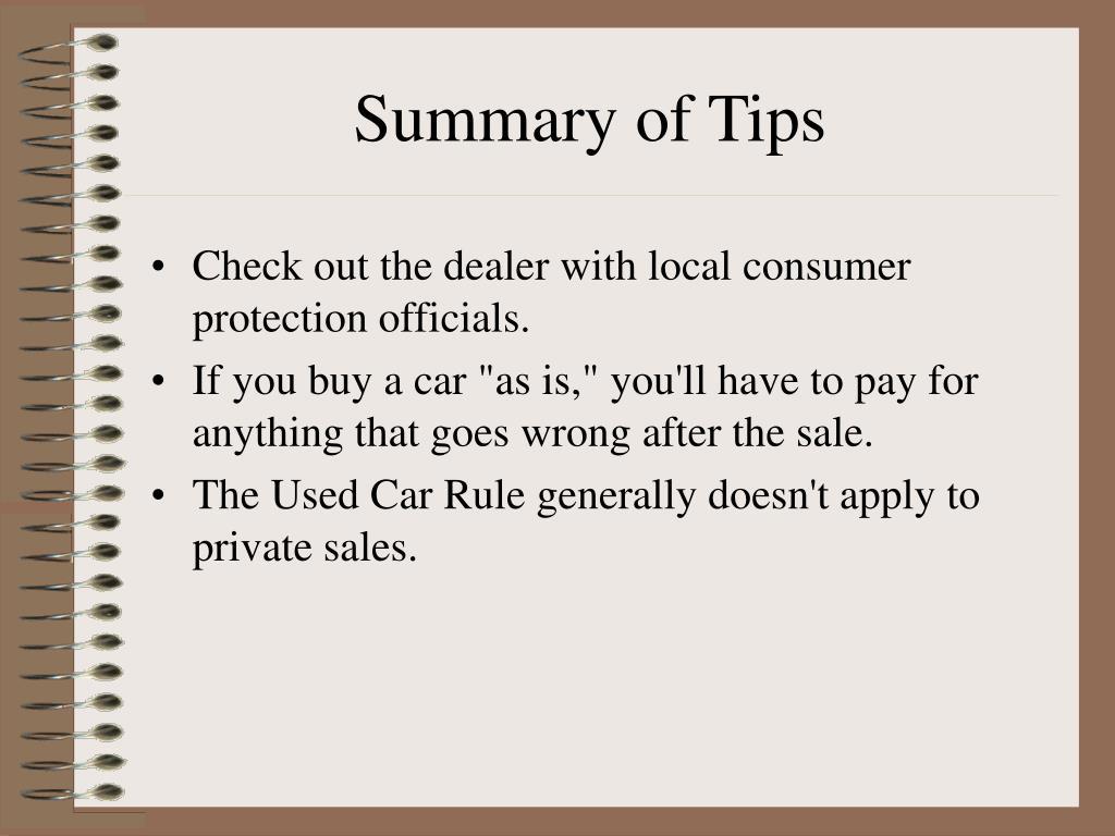 Summary of Tips