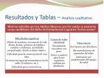 resultados y tablas an lisis cualitativo