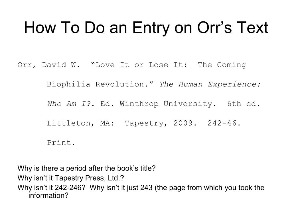How To Do an Entry on Orr's Text