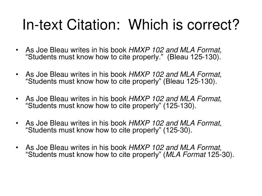In-text Citation:  Which is correct?