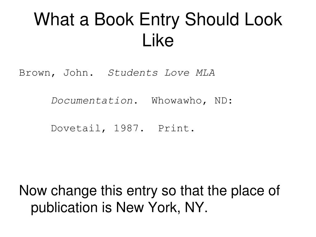 What a Book Entry Should Look Like