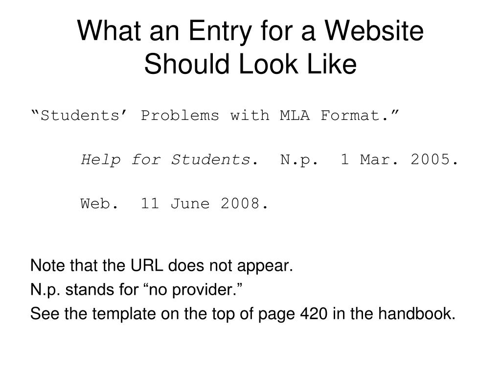 What an Entry for a Website Should Look Like