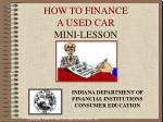 how to finance a used car mini lesson