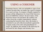 using a cosigner