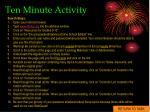 ten minute activity