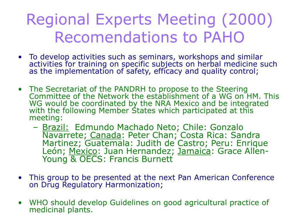 Regional Experts Meeting (2000)