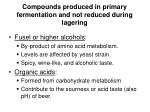 compounds produced in primary fermentation and not reduced during lagering
