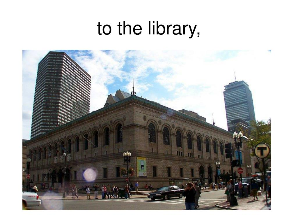to the library,