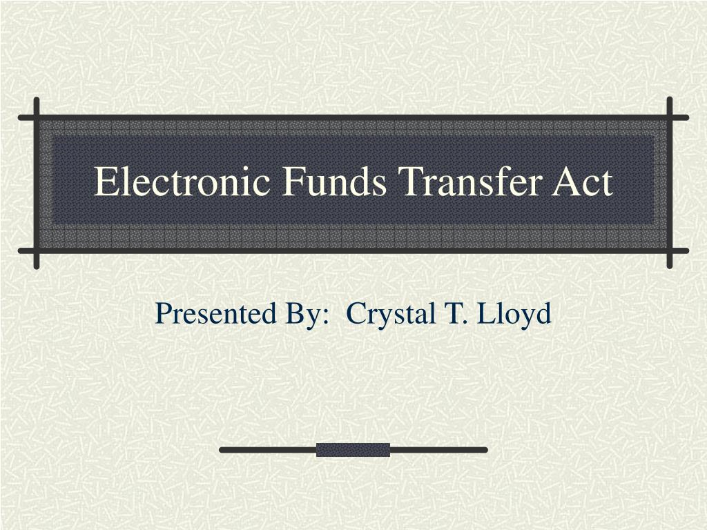 electronic funds transfer act l.