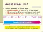 leaving group in s n 1