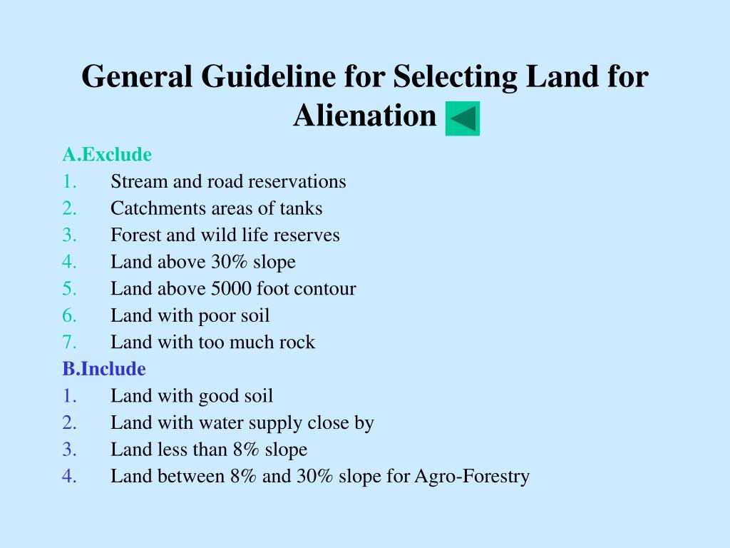 General Guideline for Selecting Land for Alienation