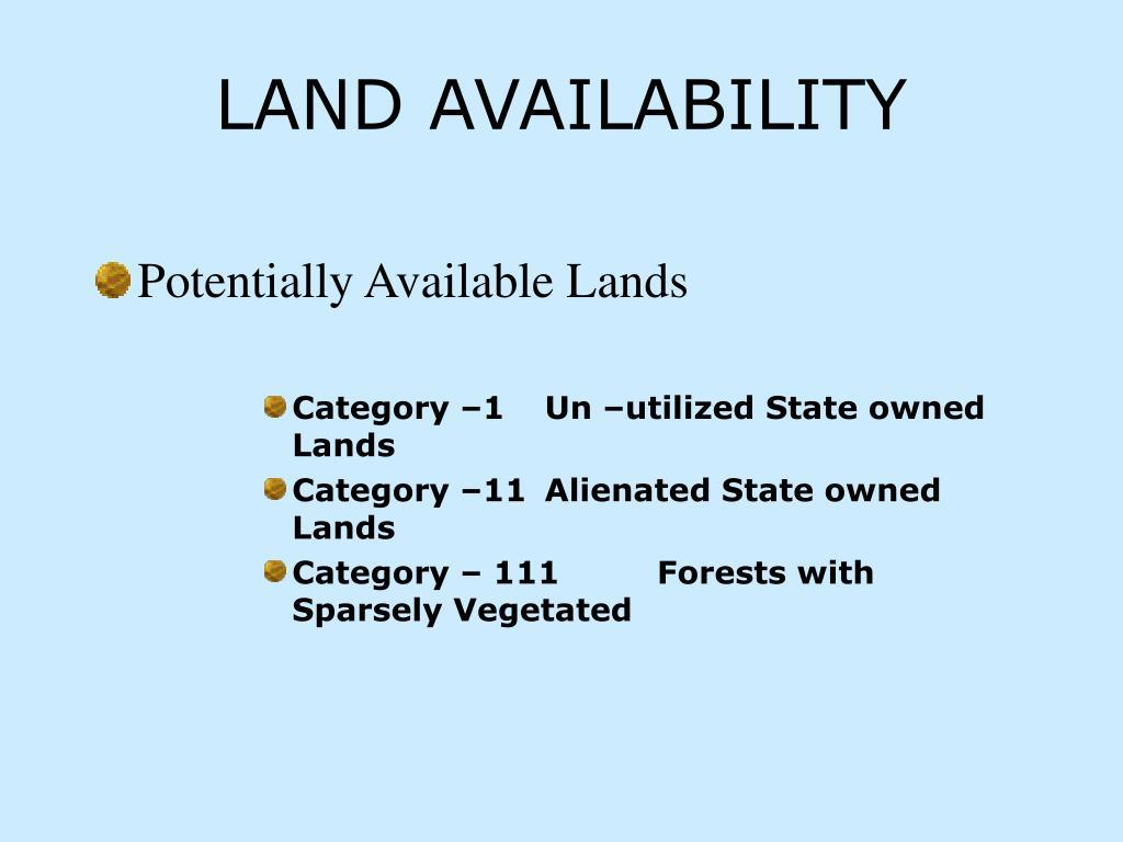 LAND AVAILABILITY