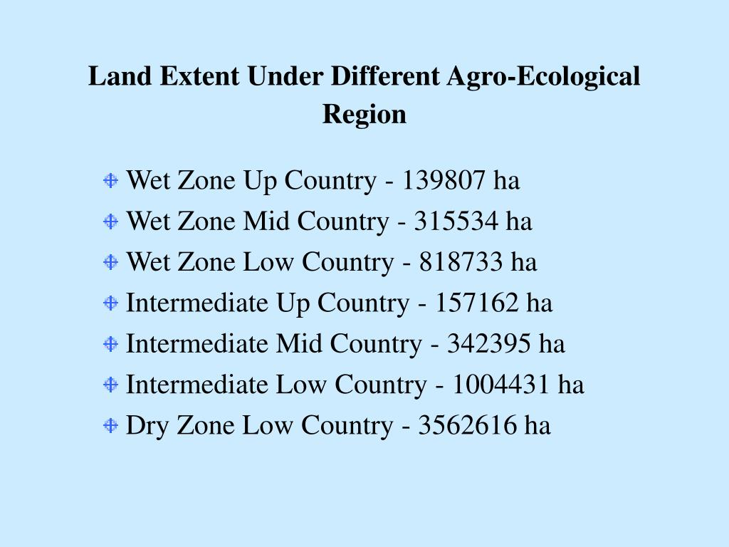 Land Extent Under Different Agro-Ecological Region