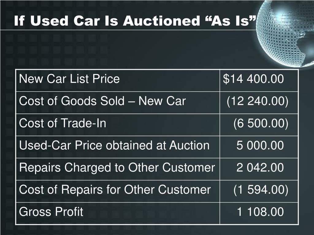 "If Used Car Is Auctioned ""As Is"""