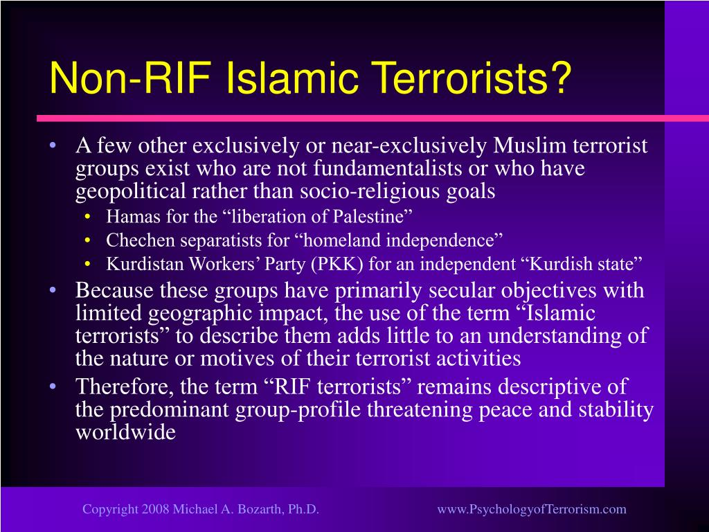 Non-RIF Islamic Terrorists?