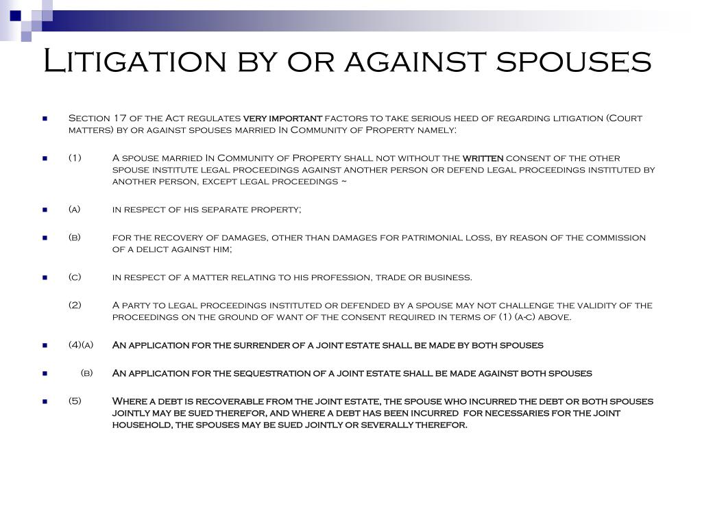 Litigation by or against spouses