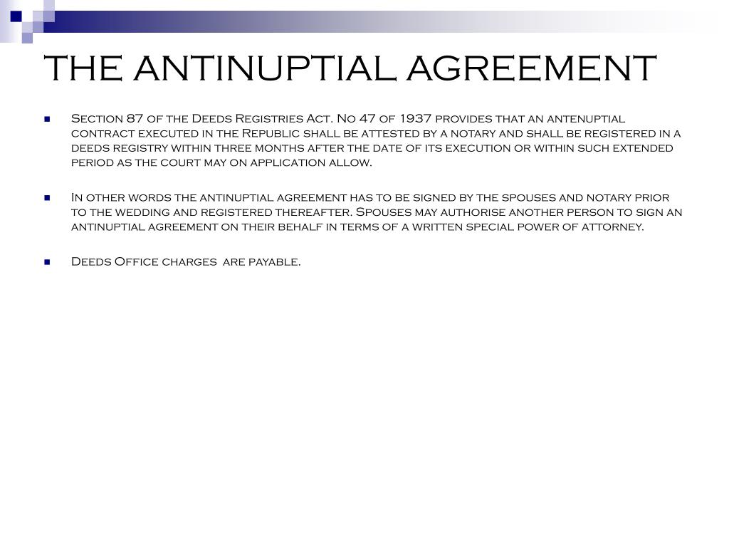 THE ANTINUPTIAL AGREEMENT