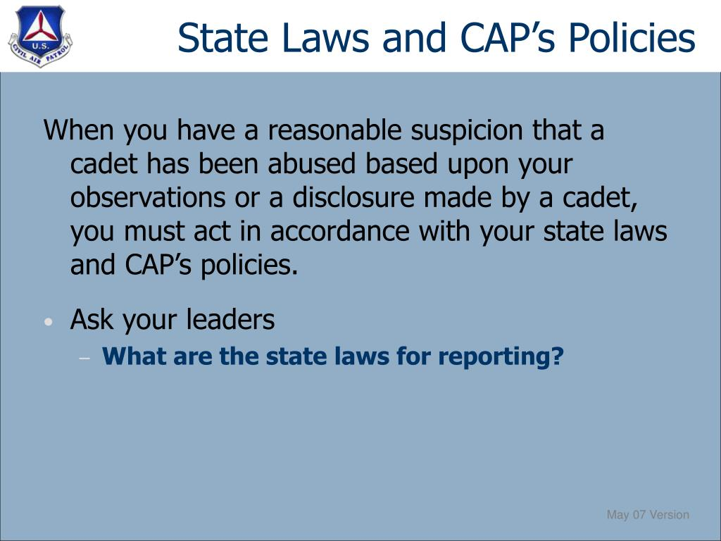 State Laws and CAP's Policies