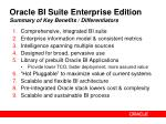 oracle bi suite enterprise edition summary of key benefits differentiators