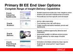primary bi ee end user options complete range of insight delivery capabilities