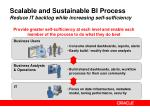 scalable and sustainable bi process reduce it backlog while increasing self sufficiency