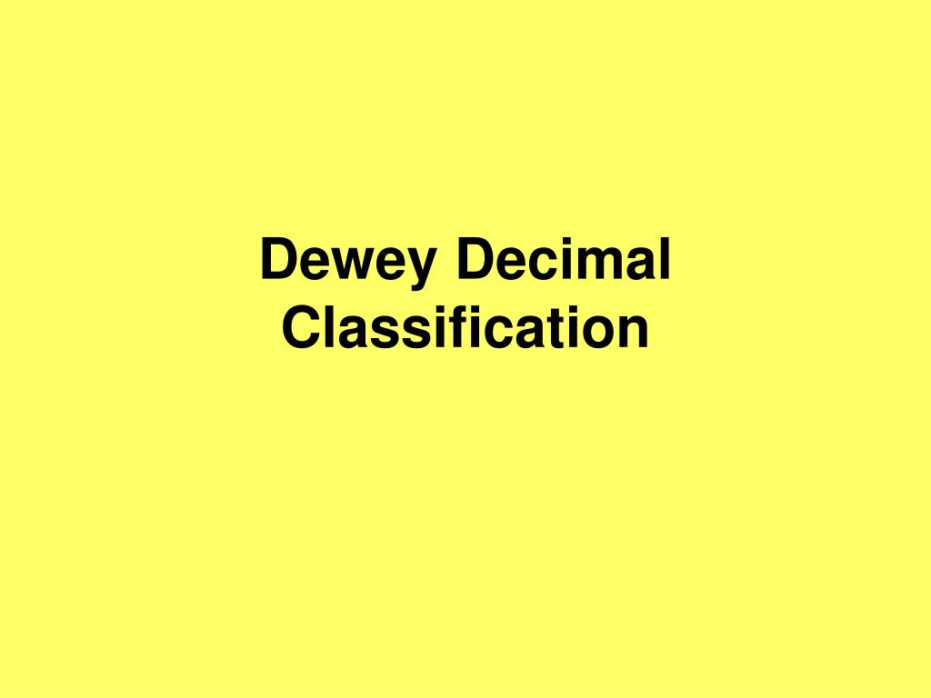 dewey decimal classification l.