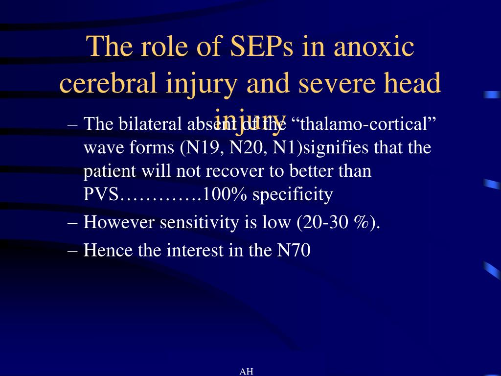 The role of SEPs in anoxic cerebral injury and severe head injury
