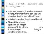byval byref argument name as data type