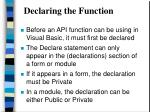 declaring the function