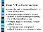 using api callback functions
