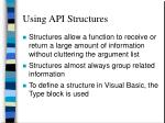 using api structures