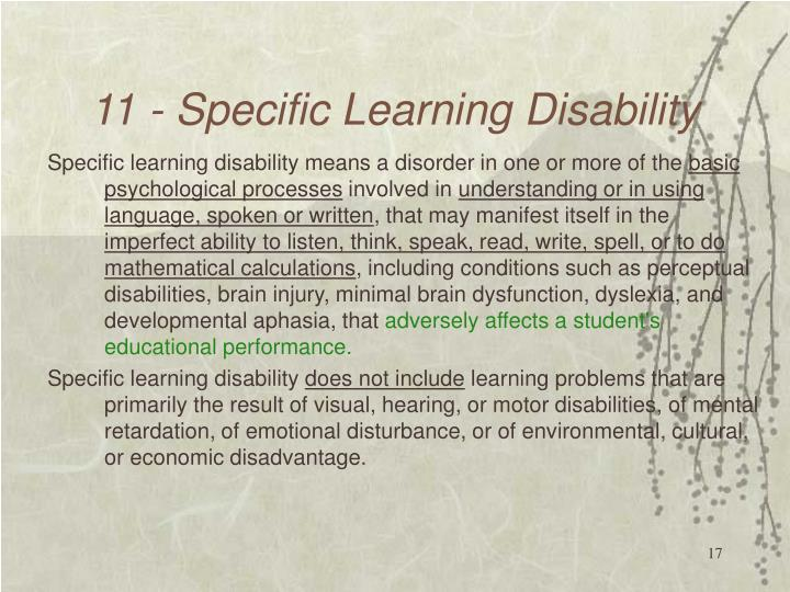 11 - Specific Learning Disability