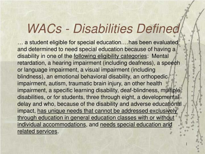 Wacs disabilities defined